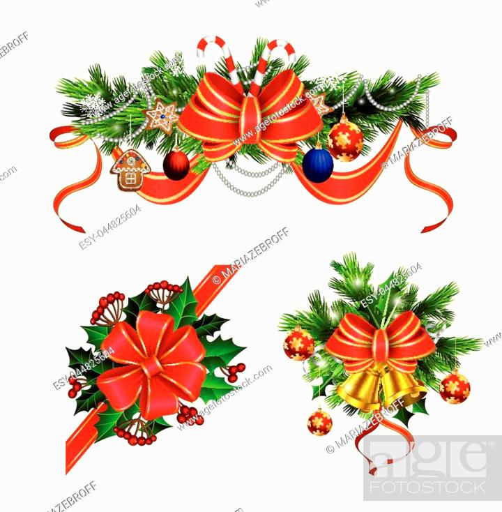 Stock Vector: Christmas decoration set with evergreen treess holly and pinecones and bow isolated.