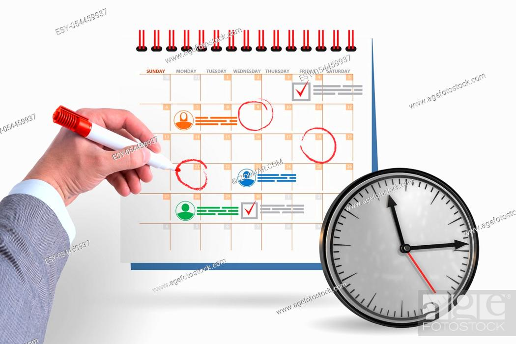 Stock Photo: The business calendar concept with businessman.