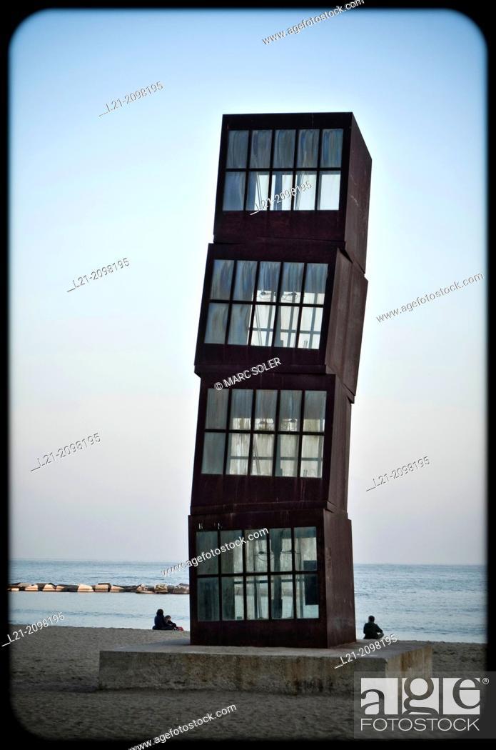 Stock Photo: 'Estel Ferit' (wounded star) sculpture. Monument designed by Rebecca Horn. Barceloneta beach, Barcelona, Catalonia, Spain.