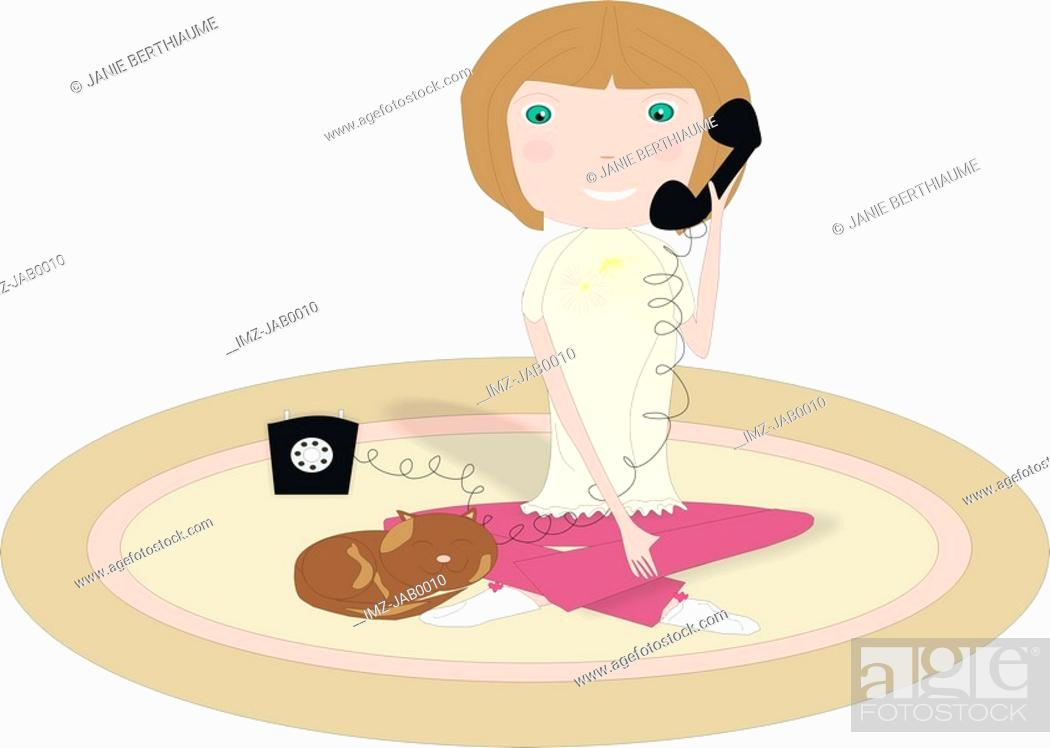 Stock Photo: A little girl sitting on the floor and talking on the telephone.