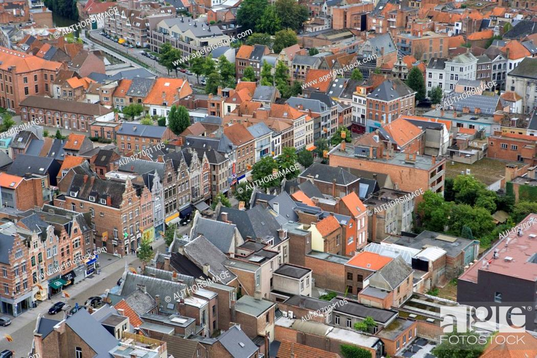 Stock Photo: Belgium - Flanders - Mechelen - View from the tower of the Saint Rumbolds Cathedral on Ijzerenleen street.