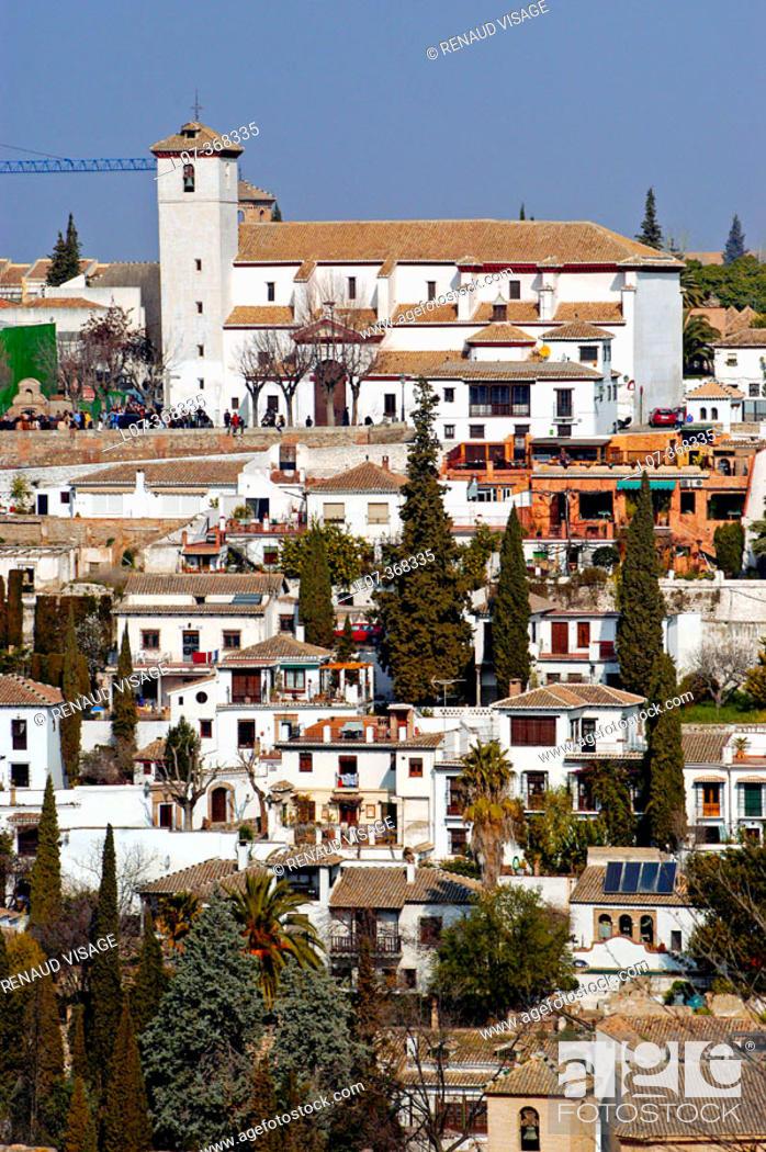 Stock Photo: View of the white houses of the Albayzin from the Alhambra. Granada. Andalucia. Spain.