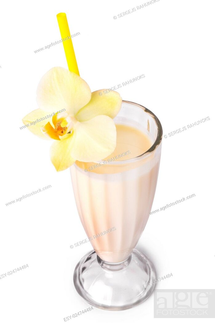 Stock Photo: Yummy banana milkshake on a white background.