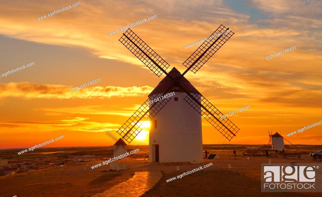 Stock Photo: Mota del Cuervo windmills in Cuenca at Castile la Mancha of spain.