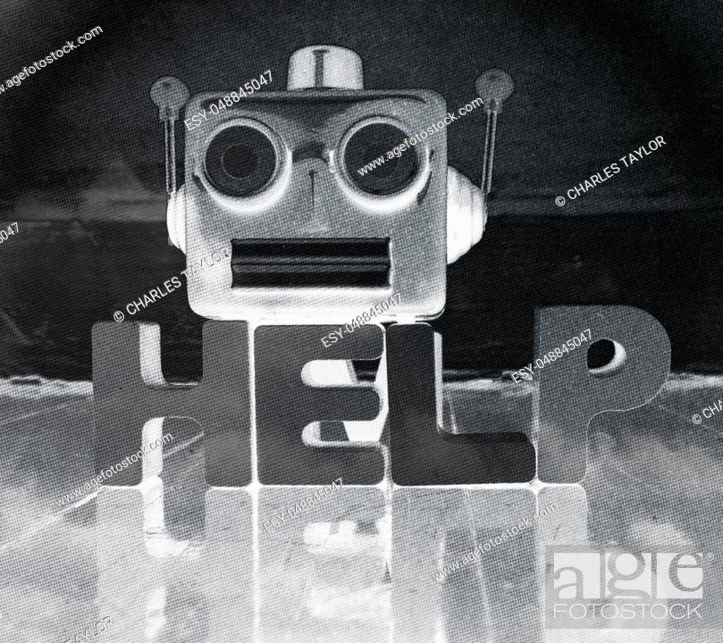 Stock Photo: robot talking head in monochrome with the word HELP on a wooden floor with reflection.