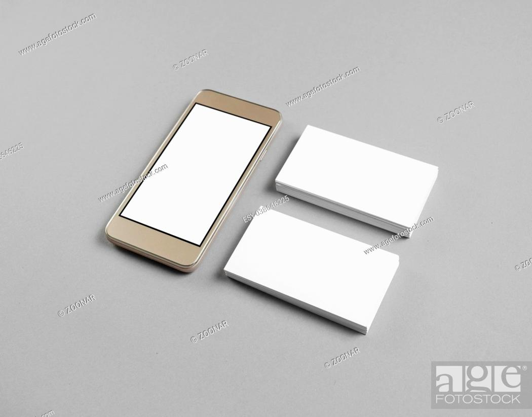 Stock Photo: Smartphone, business cards.