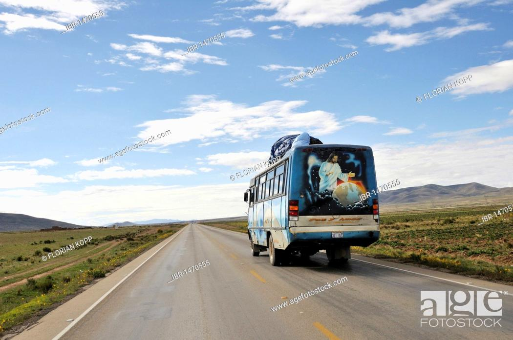 Stock Photo: Bus with a religious picture, Jesus as Lord of the world, Bolivian Altiplano highlands, Departamento Oruro, Bolivia, South America.