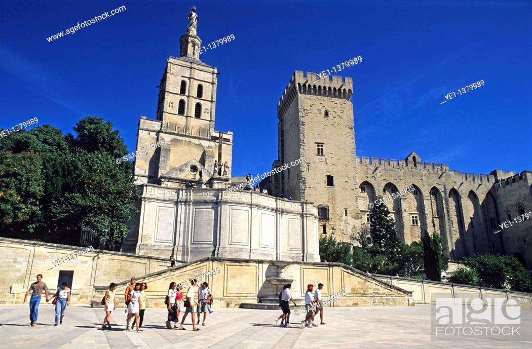 Stock Photo: Tourists outside the Palace of the Popes and the Notre Dame des Doms, Avignon, Provence, France.