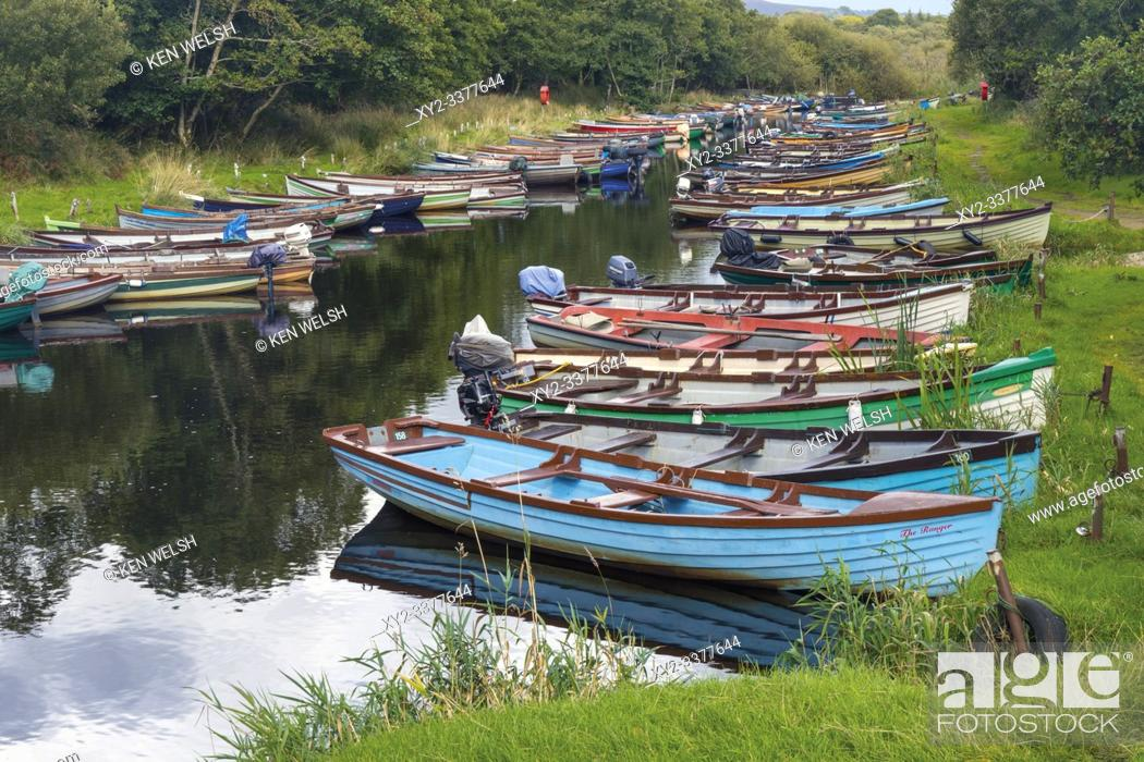 Stock Photo: Rowing boats moored on the small creek seperating Ross Island from the mainland, Lough Leane, Killarney National Park, County Kerry, Ireland.