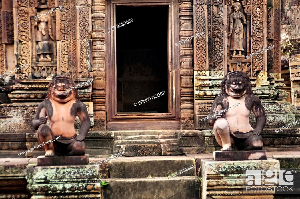 Stock Photo: Entrance to one of the temple in Banteay Srei temple complex. The citadel of women, this temple contains the finest, most intricate carvings to be found in.
