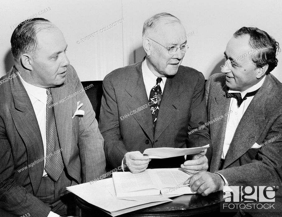 Stock Photo: American Federation of Labor's Executive Council, August 9, 1943. L-R: George Meany, William Green, and Matthew Woll. Looking toward the Postwar labor issues.