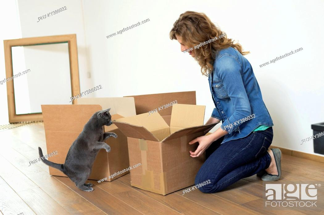 Stock Photo: Woman looking at her cat standing on hind legs.