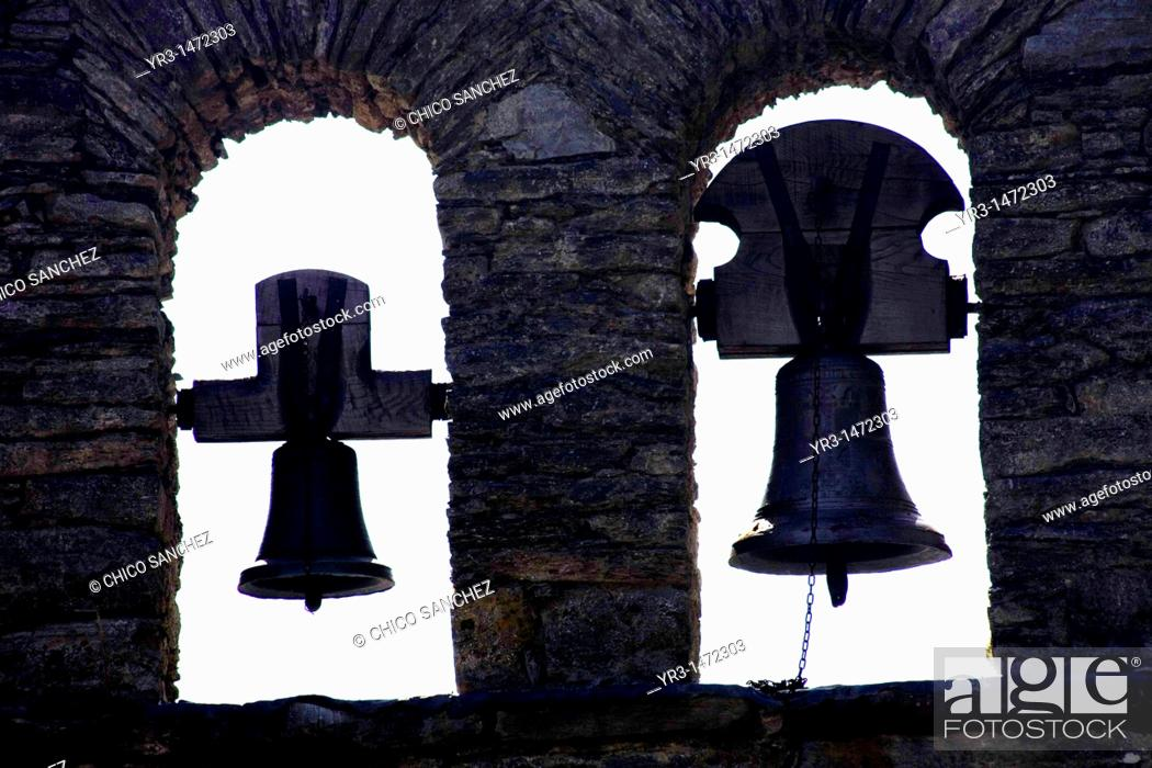 Stock Photo: Bells of a Chapel in the French Way that leads to Santiago de Compostela, Spain. Hundred of thousands pilgrims walk every year to Santiago de Compostela using.