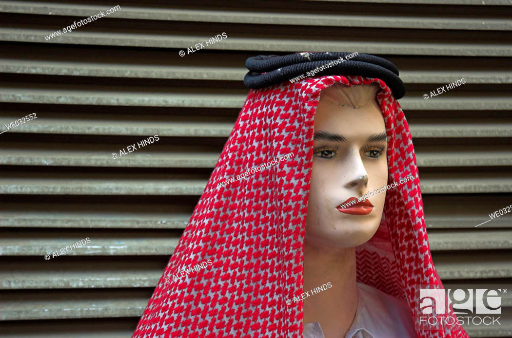 Stock Photo: Mannequin wearing men's traditional Arabic head scarf.