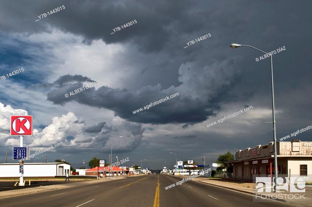 Stock Photo: Main avenue through Tucumcari in New Mexico.