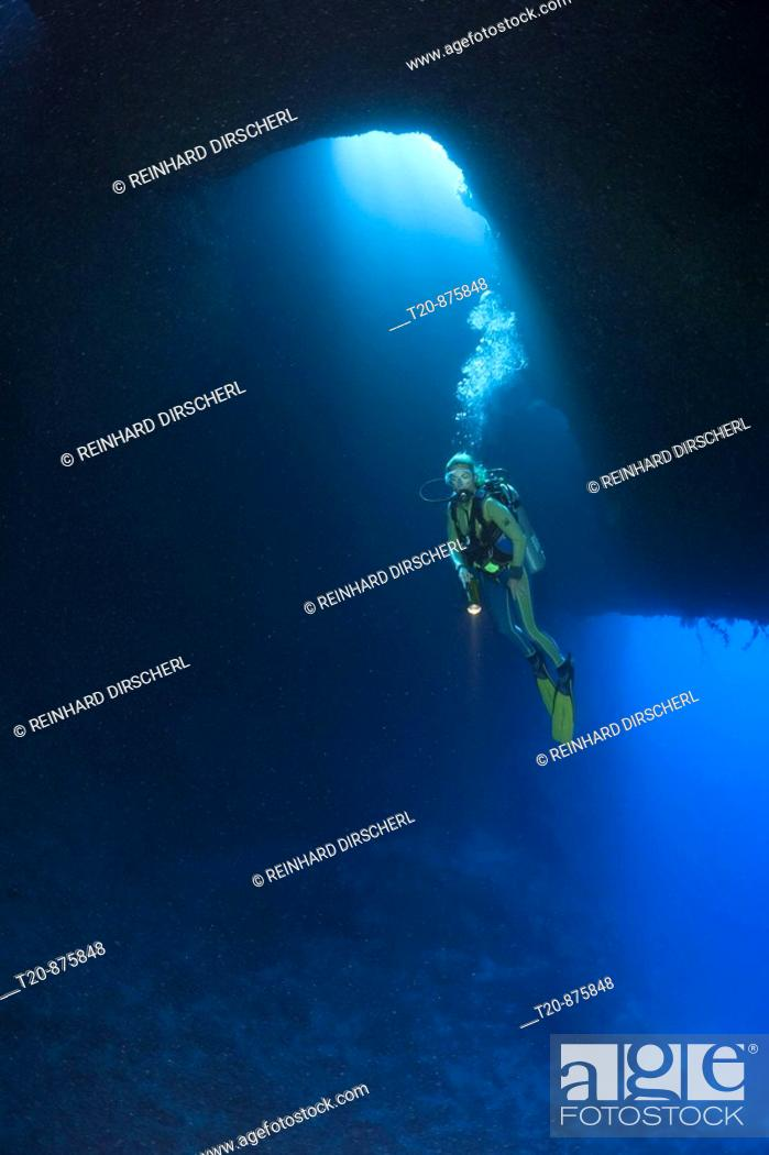 Stock Photo: Diver in Blue Hole Cave, Micronesia, Palau.