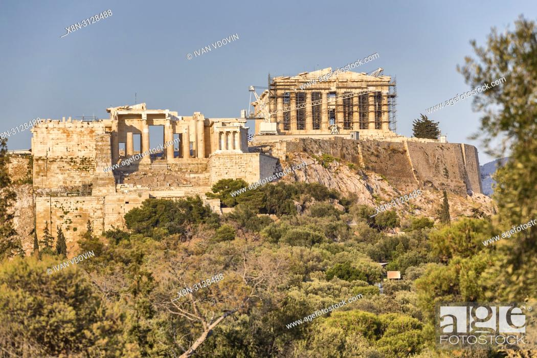 Stock Photo: Acropolis from Pnyx hill, Athens, Greece.