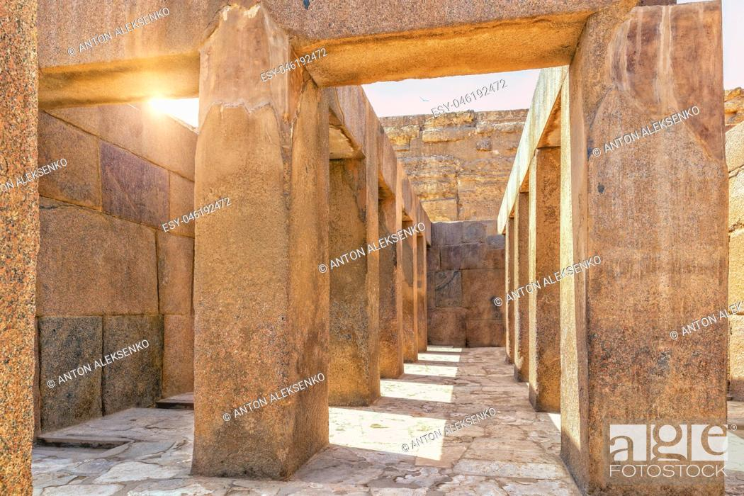 Stock Photo: Giza Temple near the Great Sphinx, view from inside, Egypt.