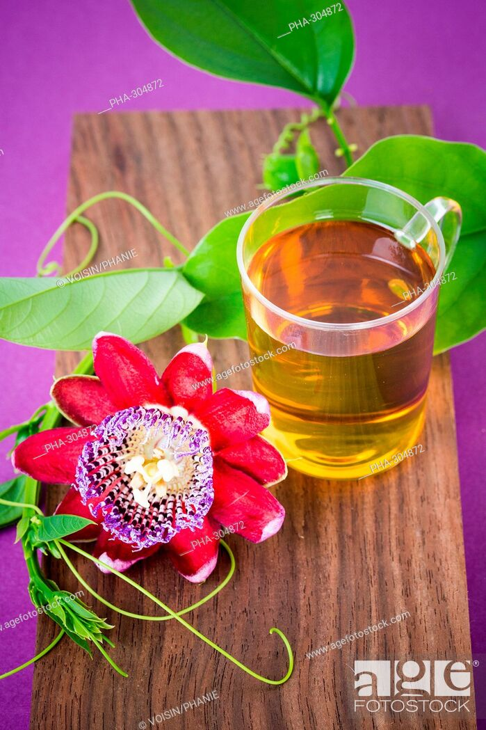 Stock Photo: Herbal tea of passiflora.