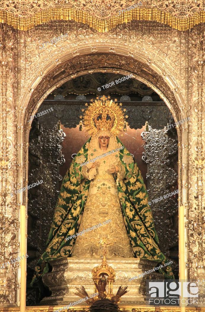 Imagen: Spain; Andalusia; Seville; Basilica de la Macarena, interior, Macarena statue, .