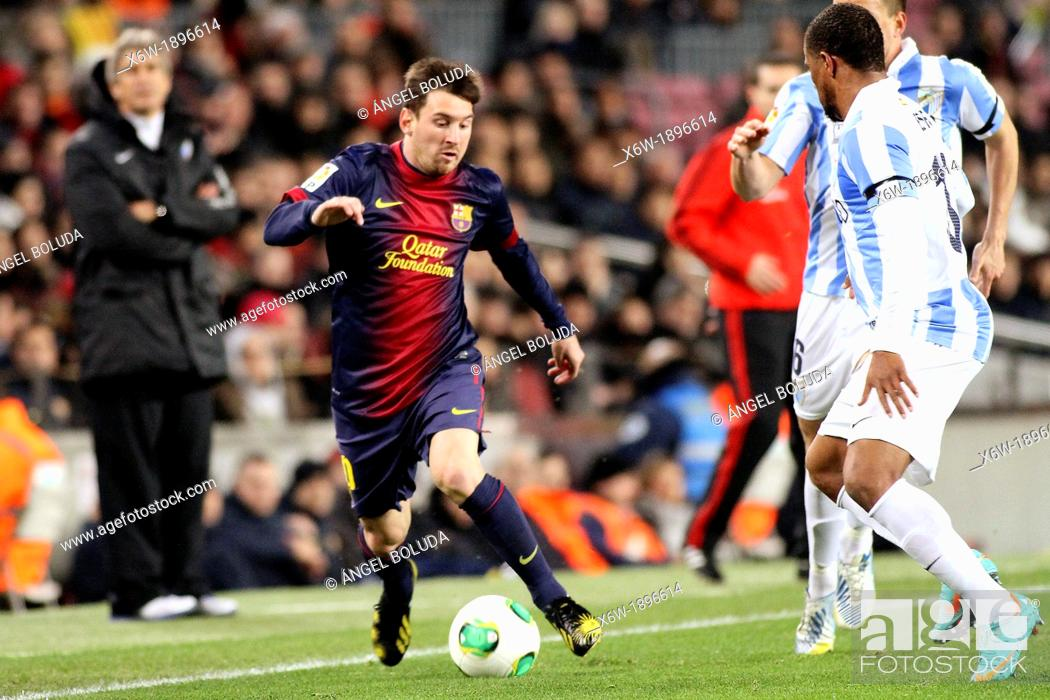 Stock Photo: 16 01 2013 Barcelona, Spain  Messi in action during the Spanish Copa del Rey game between Barcelona and Malaga from the Nou Camp.