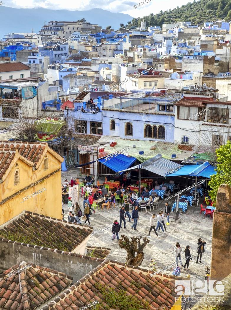 Stock Photo: View of city and Rif Mountains, Chefchaouen, Morocco.