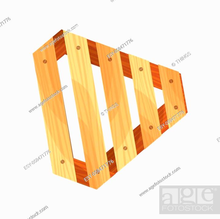 Stock Vector: Wooden pallet. Platform for freight transportation. Cargo logistics and distribution. Cartoon wood pallet vector icon for web design.