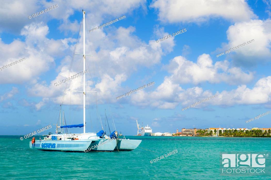 Stock Photo: Port of Oranjestad, Oranjestad, Aruba, Lesser Antilles, Central America.