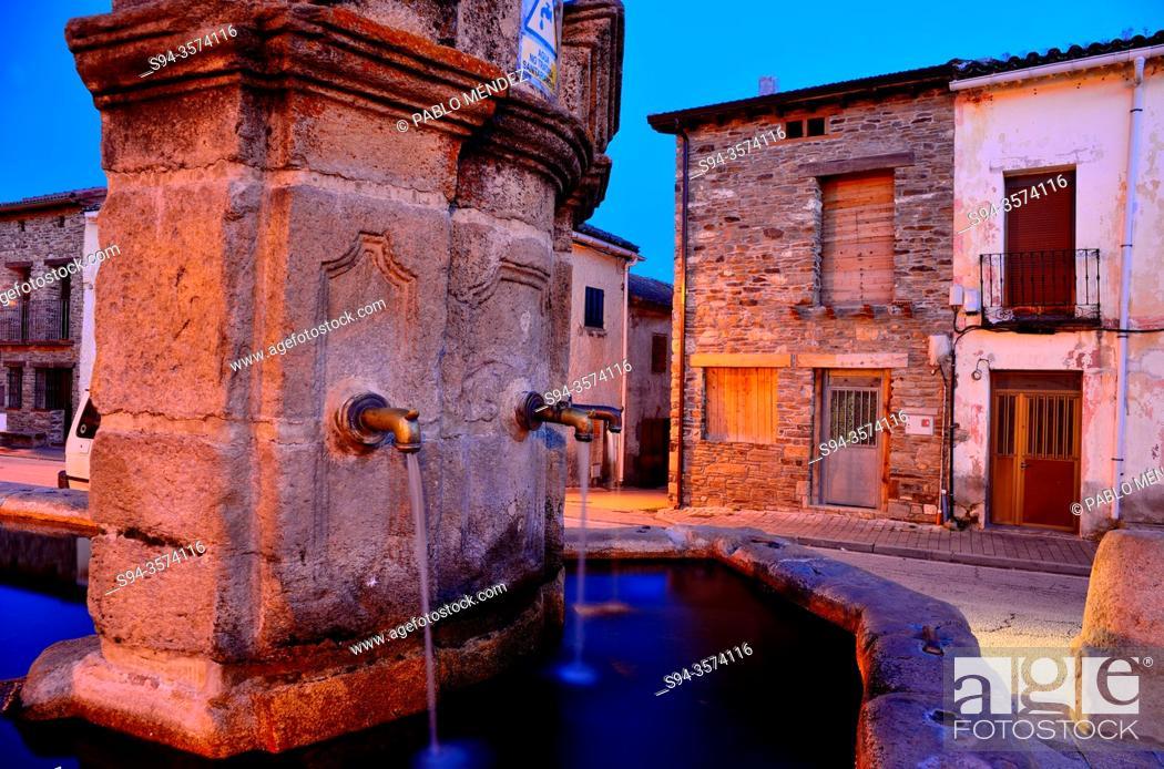 Stock Photo: Fountain of Montejo de la Sierra, Madrid, Spain.