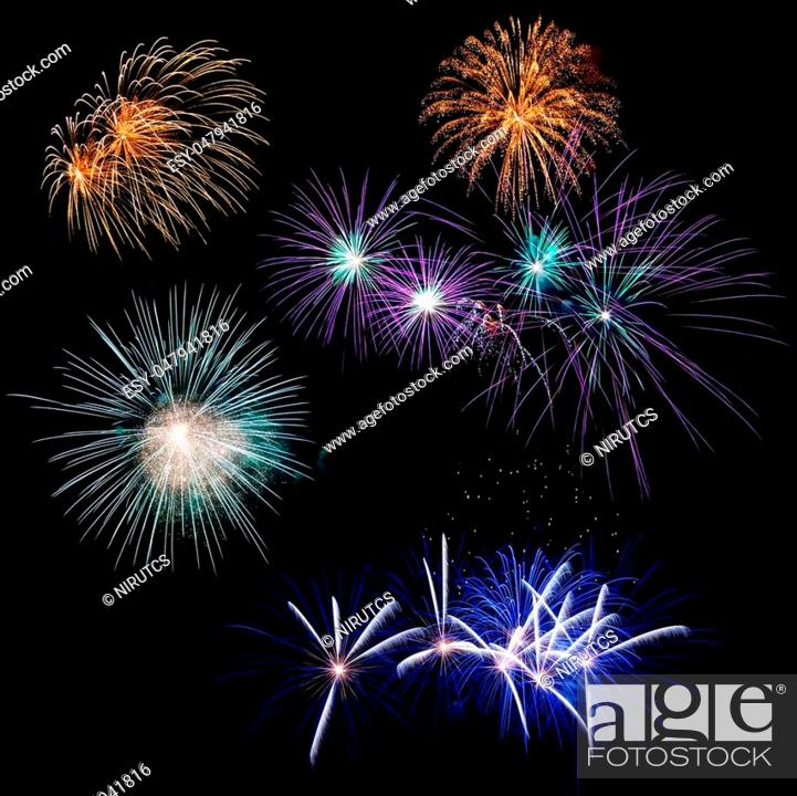 Stock Photo: Fireworks of many exposures collage in a black background.