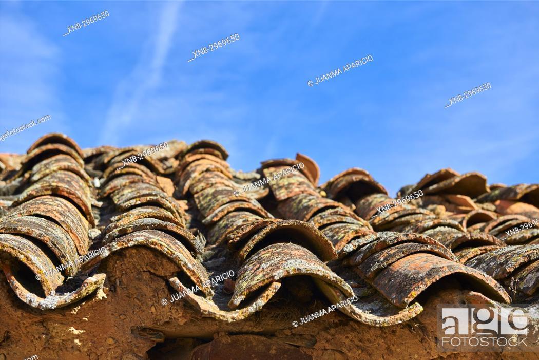 Stock Photo: Roof Tiles over Adobe House, Province of zamora, Castilla y Leon, Spain, Europe.