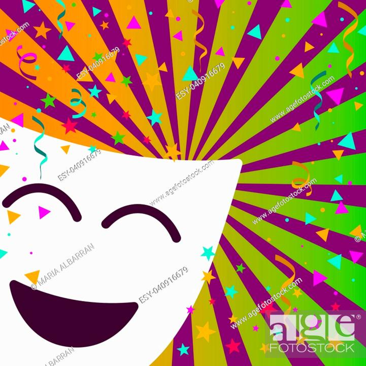 Stock Vector: Carnival mask with confetti stars and streamers on stripes background.