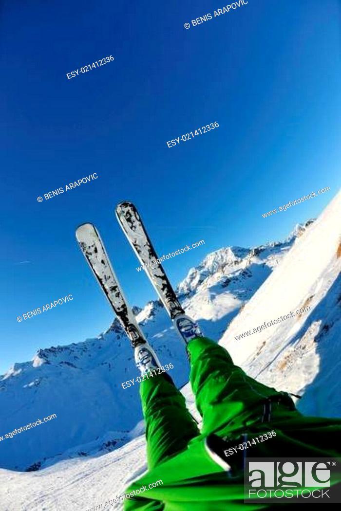Stock Photo: skiing on fresh snow at winter season at beautiful sunny day.