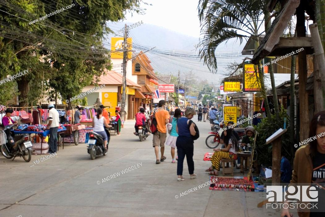 Stock Photo: Main street with road side stalls Pai north Thailand.