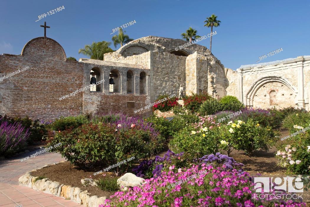Stock Photo: Flowers Gardens Great Stone Church Ruins Mission San Juan  Capistrano Orange County California
