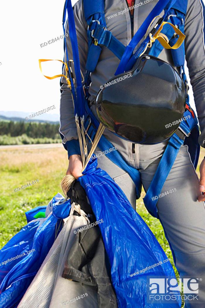 Stock Photo: Male parachutist.