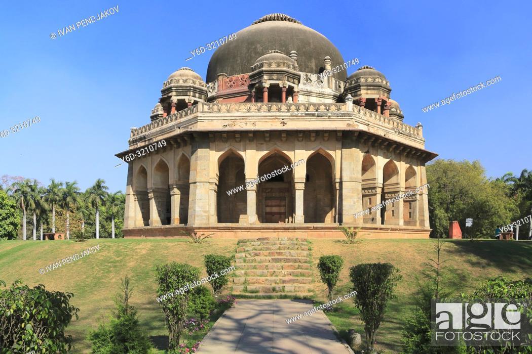 Stock Photo: Muhammad Shah Sayyid Tomb, Lodhi Garden, New Delhi, India.