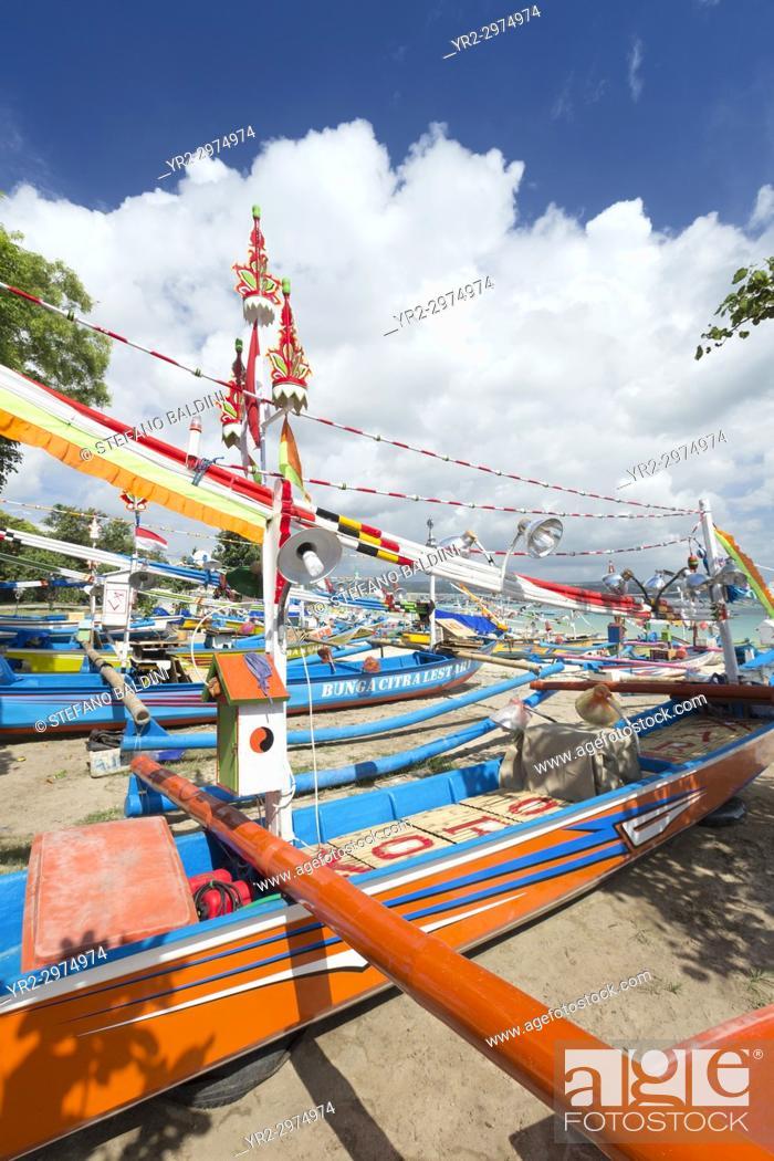 Stock Photo: Traditional balinese fisherman boats on the beach of Jimbaran near the fish market, Bali, Indonesia.