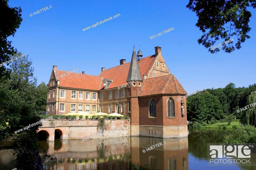 Stock Photo: Castle Hulshoff house of birth of Annette von Droste-Hulshoff Havixbeck North Rhine-Westphalia Germany Burg Hülshoff Annette von Droste-Hülshoff.