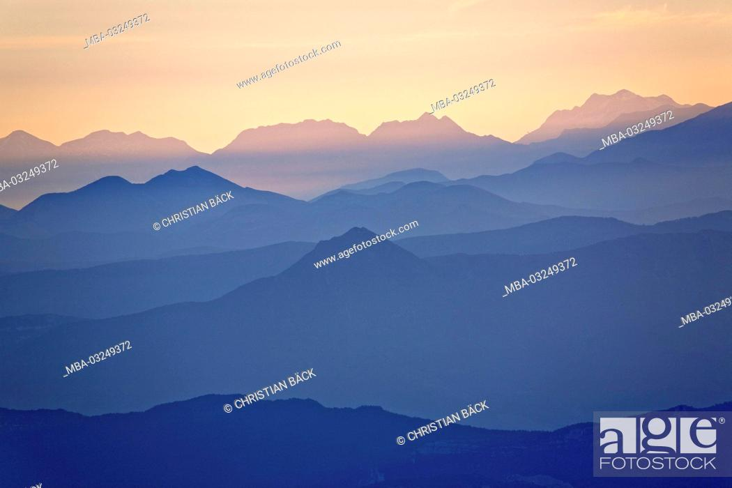 Stock Photo: View of the Mont Ventoux to the east, Provence, Provence-Alpes-Cote d'Azur, France,.