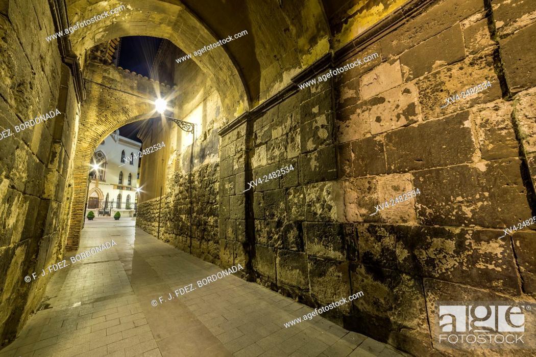 Stock Photo: Cathedral Santa Maria de Mediavila by Night, Teruel, Aragon, Spain.