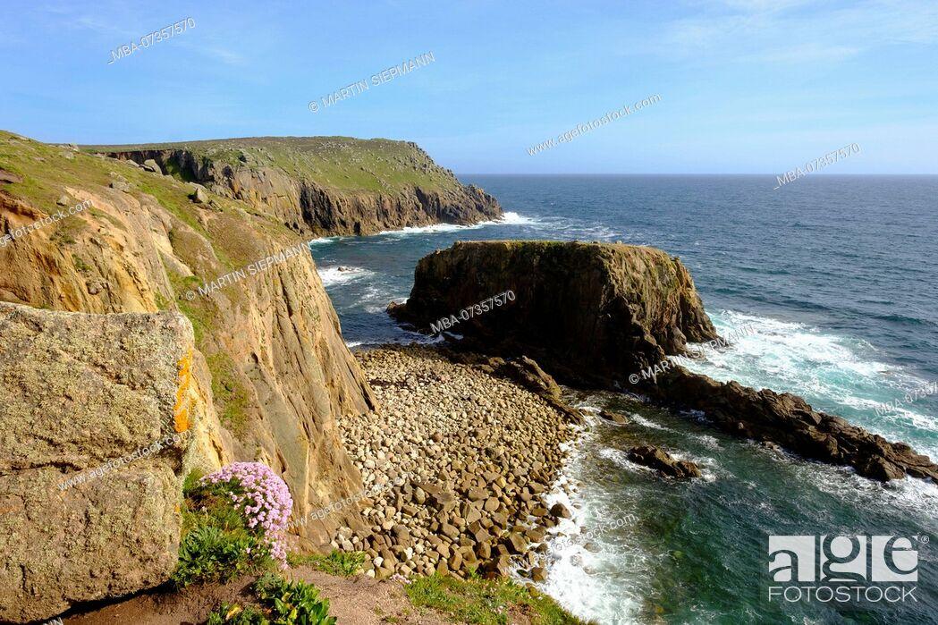 Stock Photo: Cliff coast, Land's End, Cornwall, England, United Kingdom.