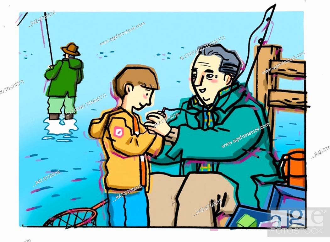 Stock Photo: An elderly man helping a young boy to bait a fish hook.