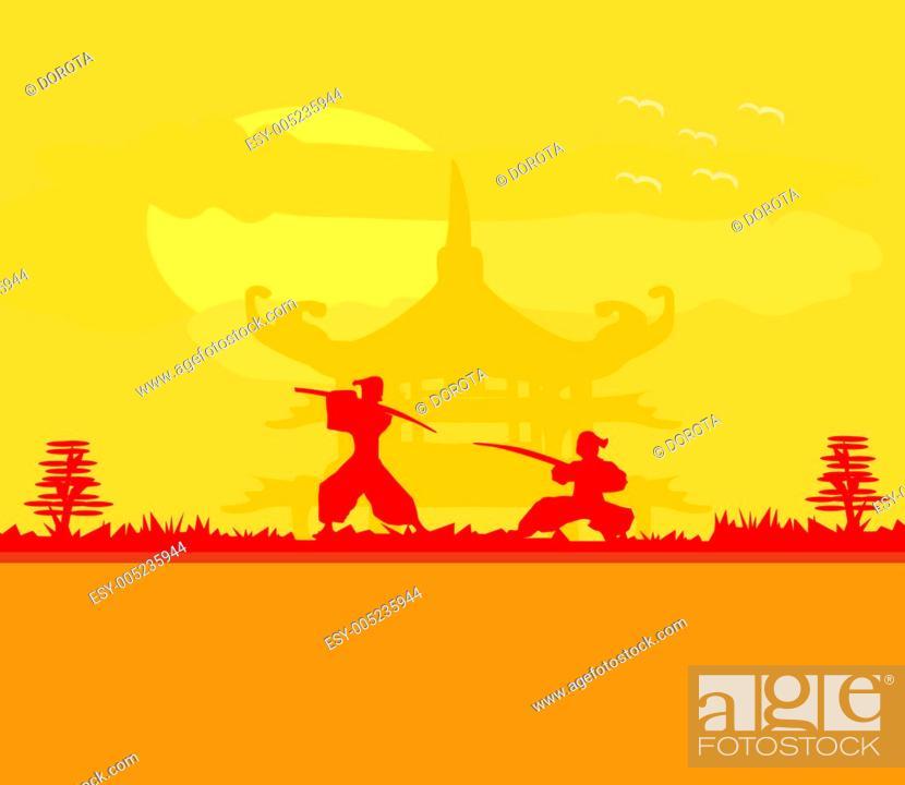 Stock Photo: Samurai silhouette in Asian Landscape.