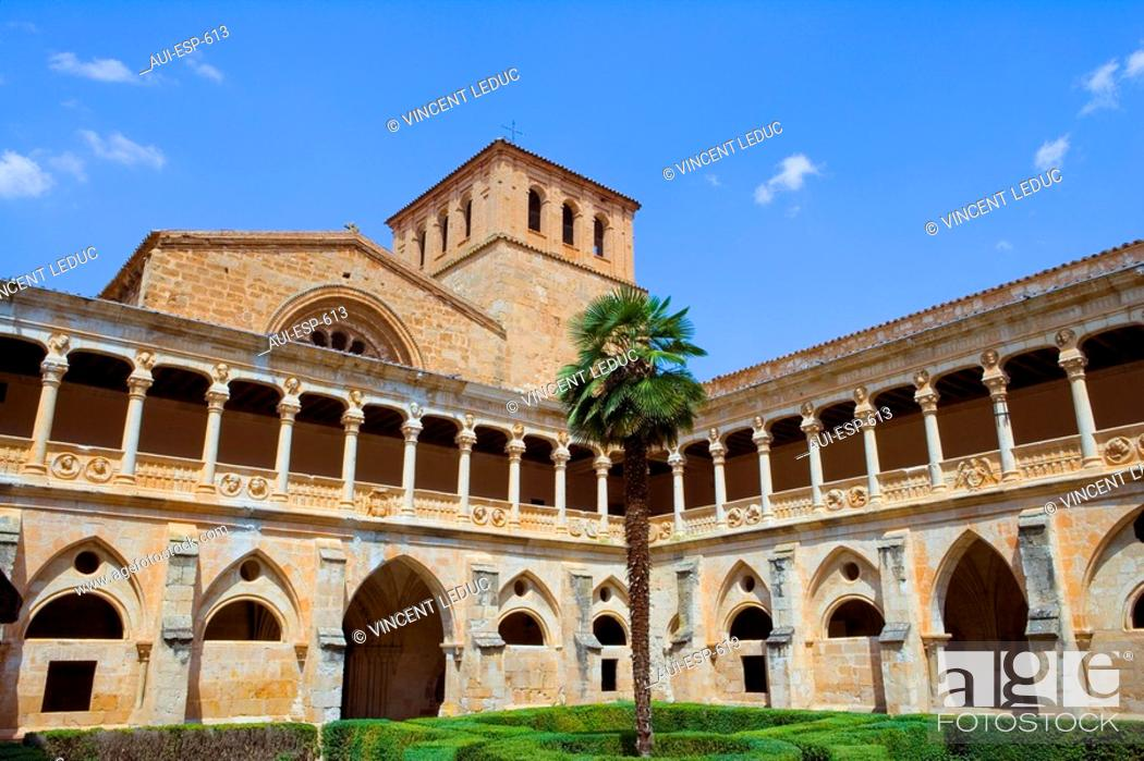 Stock Photo: Spain - Castile and Leon - Province of Soria - Santa Maria de Huerta - Courtyard of Cistercian Royal Monastery.