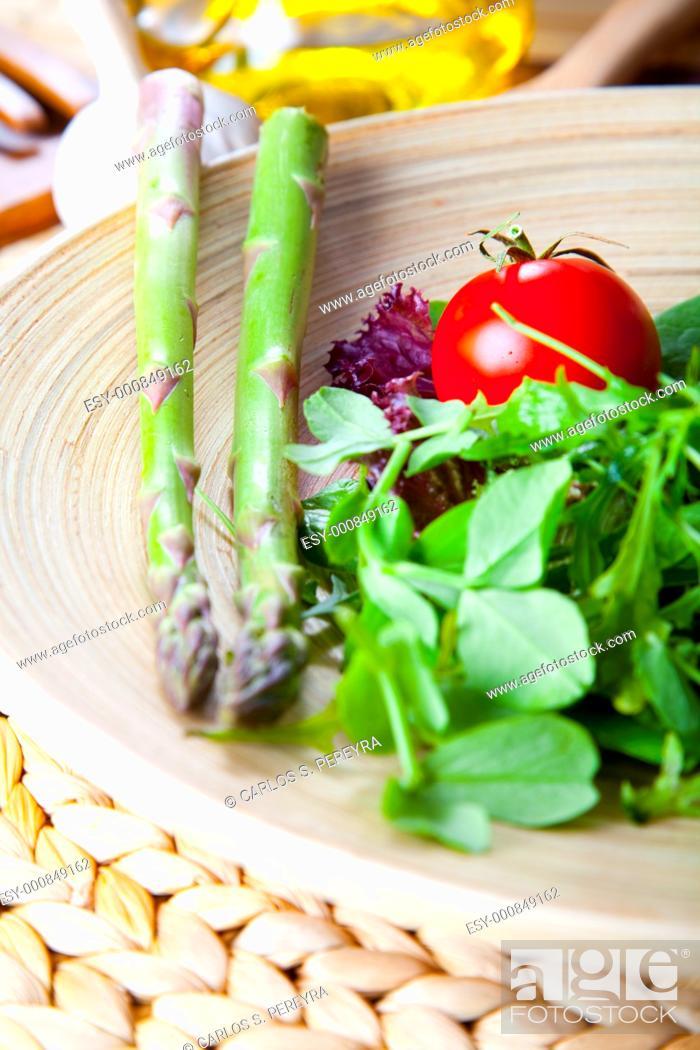 Stock Photo: mediterranean salad with organic ingredients.