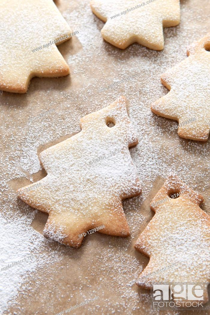 Full Frame Image Of Christmas Tree Shaped Tree Decoration Biscuits
