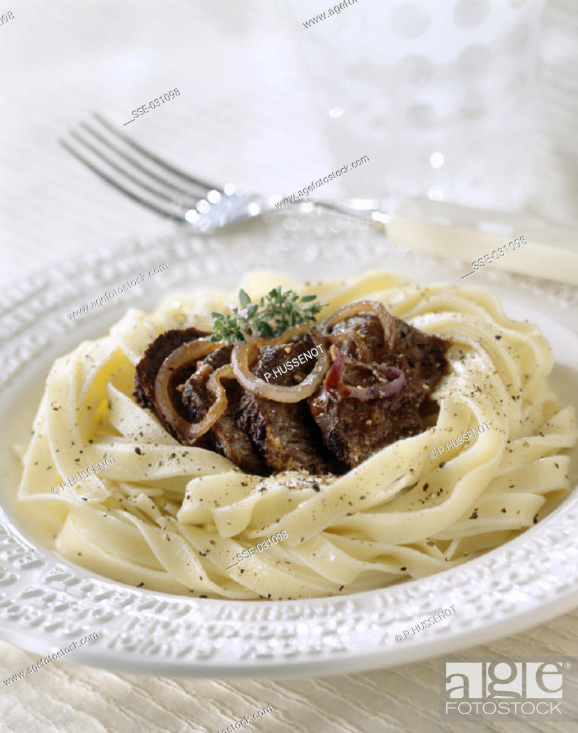 Stock Photo: Tagliatelli with stewed beef and onions.
