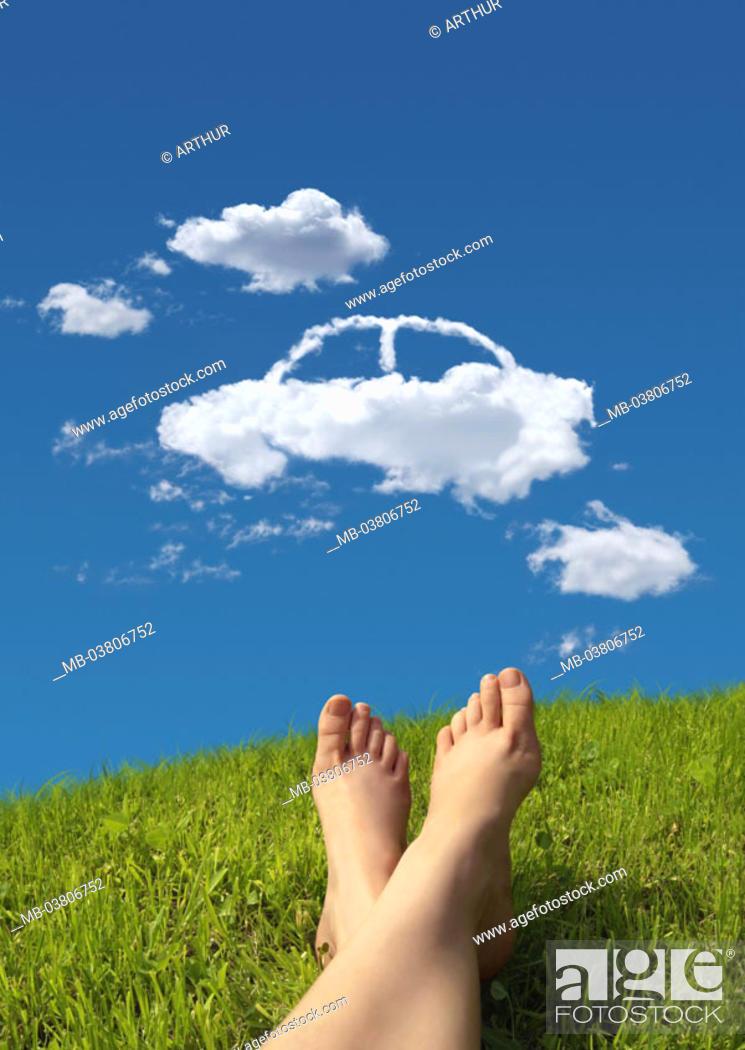 lie meadow, woman, detail, legs, nakedfoot, heaven, clouds, auto