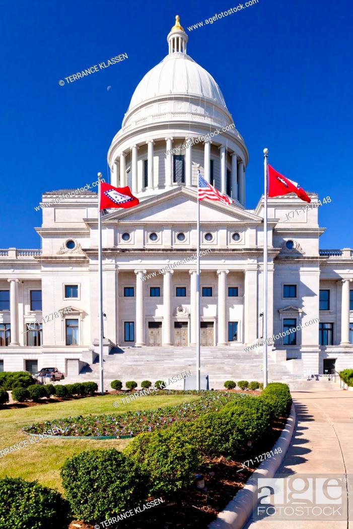 Stock Photo: The Arkansas State Capitol building in Little Rock, Arkansas, USA.